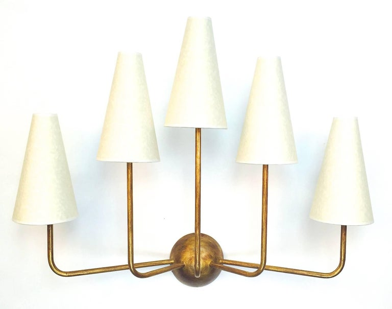 Two-Arm Black Wall Lamp in the Style of Jean Royère 5