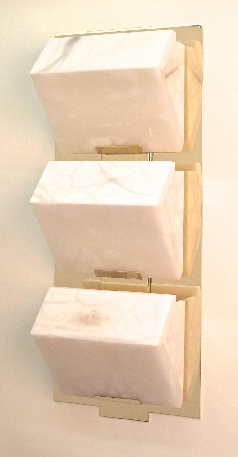 Alabaster Large 'Triple Block' Model #230 Sconce in the Manner of Pierre Chareau For Sale