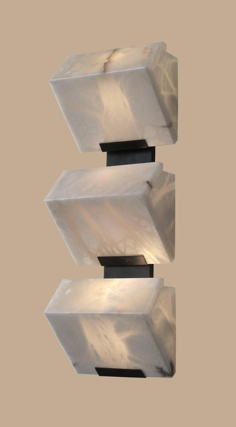 Modern Large 'Triple Block' Model #230 Sconce in the Manner of Pierre Chareau For Sale