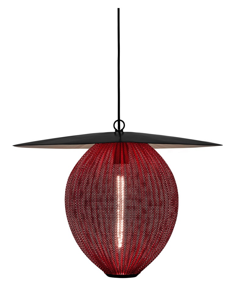 Contemporary Large Mathieu Matégot 'Satellite' Pendant in Black and Grey Metal For Sale