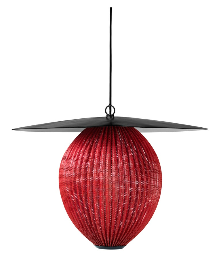 Large Mathieu Matégot 'Satellite' Pendant in Black and Grey Metal In New Condition For Sale In Glendale, CA