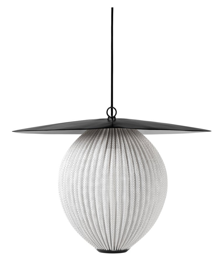 Large Mathieu Matégot 'Satellite' Pendant in Black and Grey Metal For Sale 1
