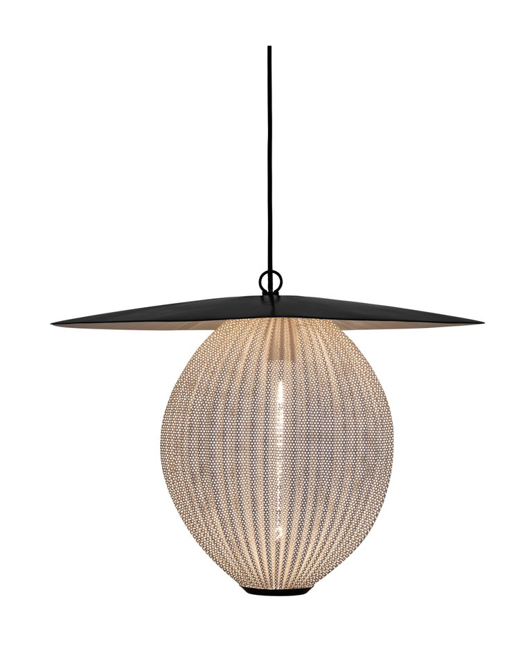Large Mathieu Matégot 'Satellite' Pendant in Black and Grey Metal For Sale 2