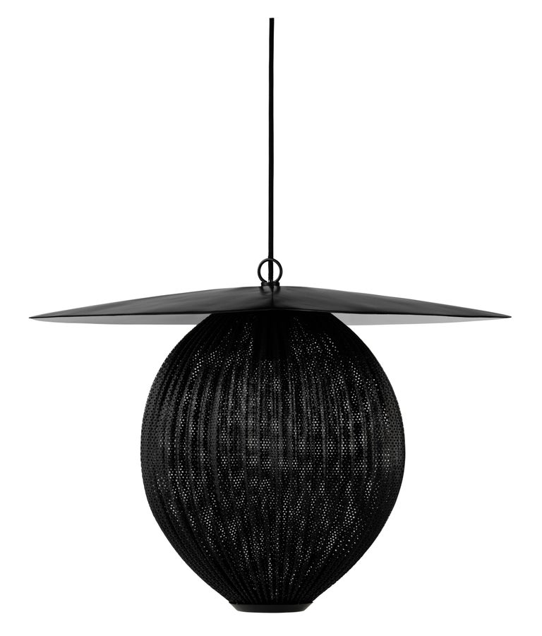 Powder-Coated Large Mathieu Matégot 'Satellite' Pendant in Black and Grey Metal For Sale