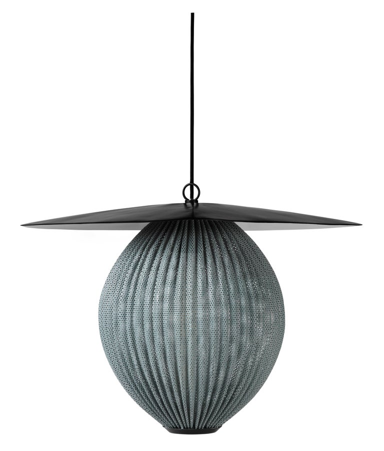 Large Mathieu Matégot 'Satellite' pendant in black and grey Metal. Designed in 1953 by Matégot, this is an authorized re-edition by GUBI of Denmark, who meticulously reproduces his work with scrupulous attention to detail and materials that are