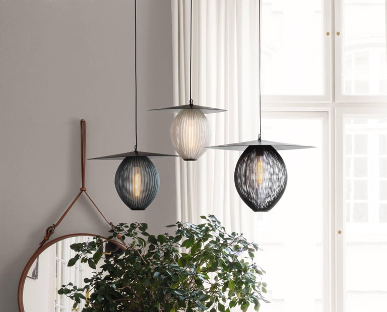 French Large Mathieu Matégot 'Satellite' Pendant in Black and Grey Metal For Sale