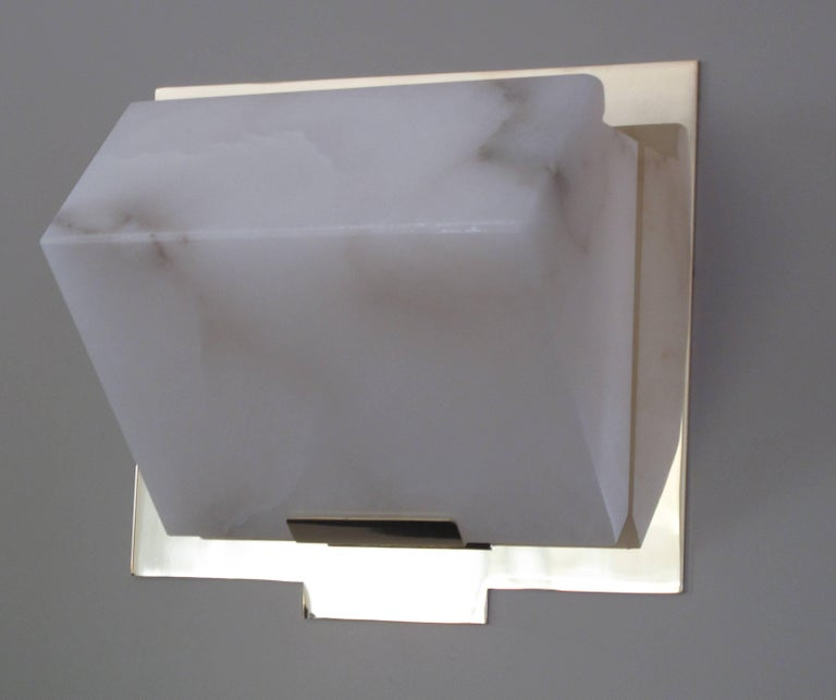 'Single Block' Model #185 Sconce in the Manner of Pierre Chareau In Excellent Condition For Sale In Glendale, CA