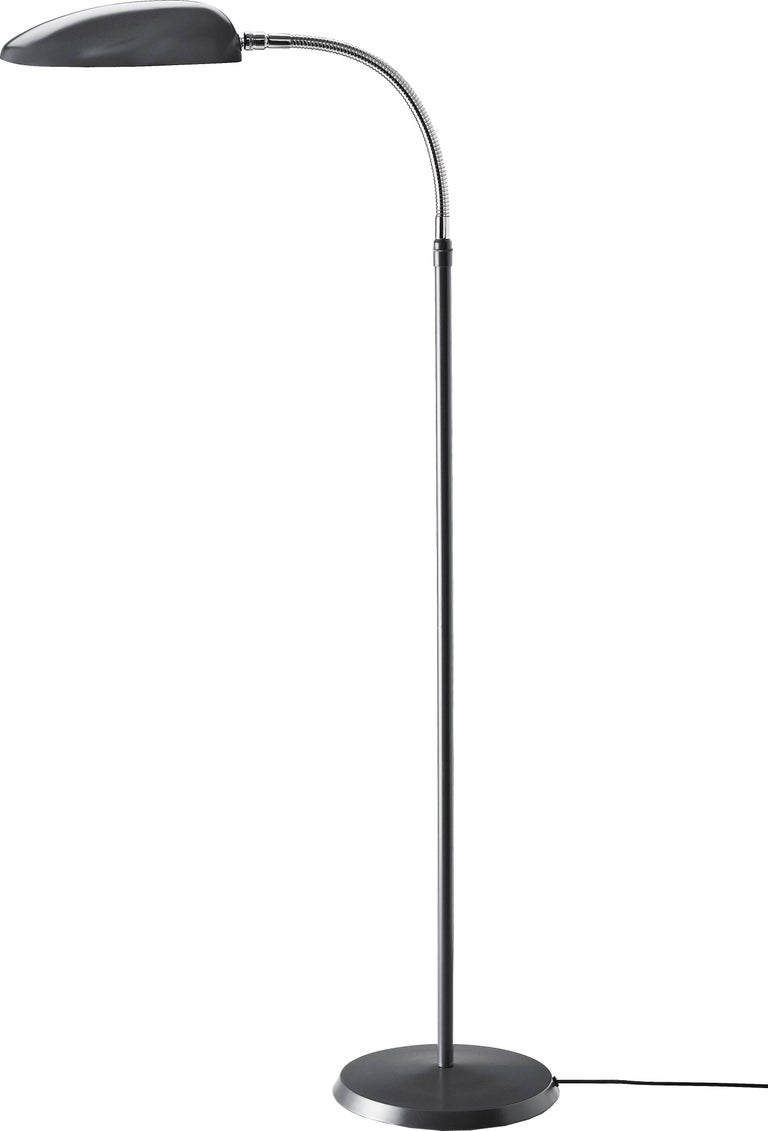 Greta Magnusson Grossman 'Cobra' floor lamp in anthracite grey. Designed in 1950 by Grossman, this is an authorized re-edition by GUBI of Denmark who meticulously reproduces her work with scrupulous attention to detail and materials that are