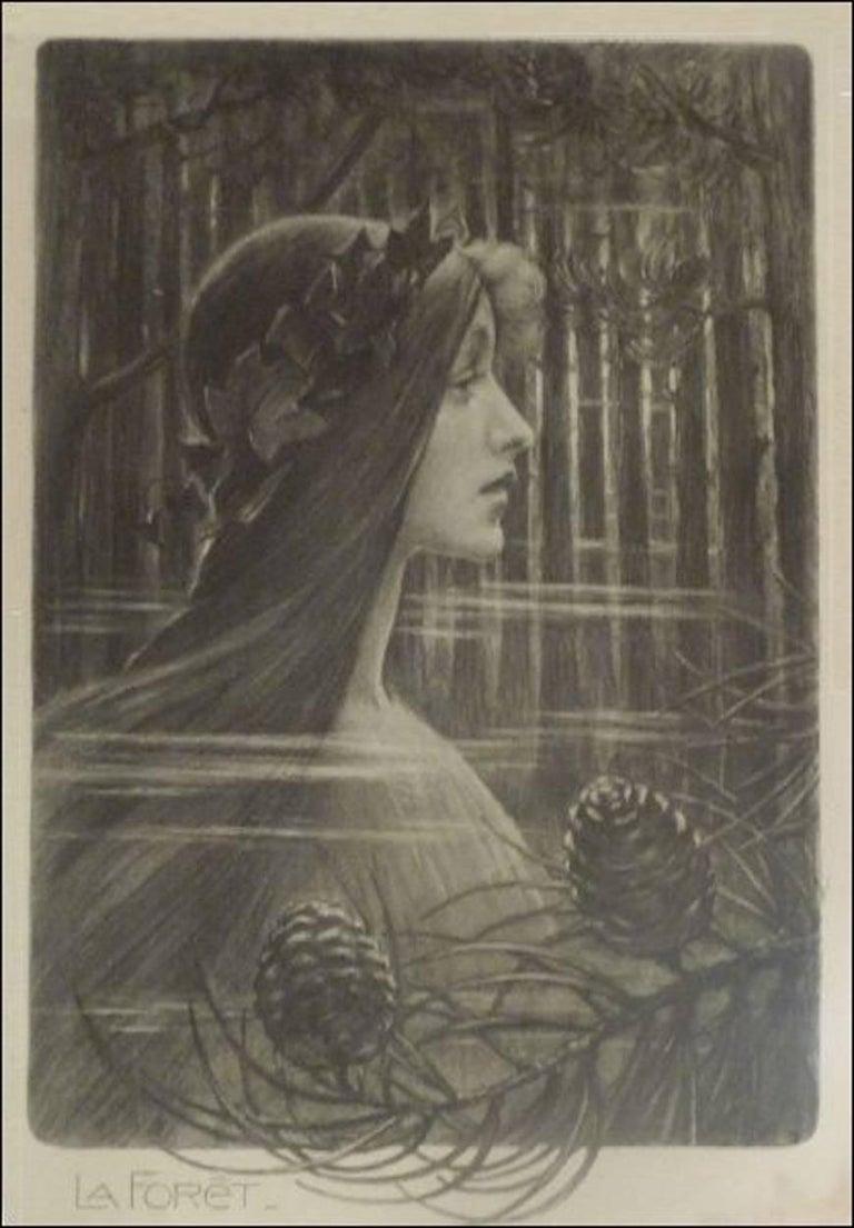 """Tony Martin, """"L'Eau"""", """"La Forêt"""", Two Art Nouveau Black and White Lithographs 2"""