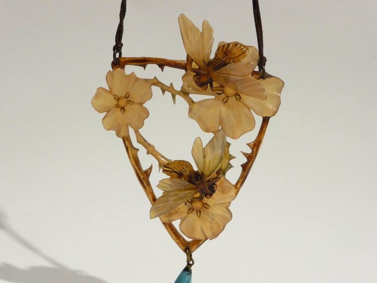 Elisabeth Bonté, an Art Nouveau Horn and Glass Beads Pendant, Signed 2