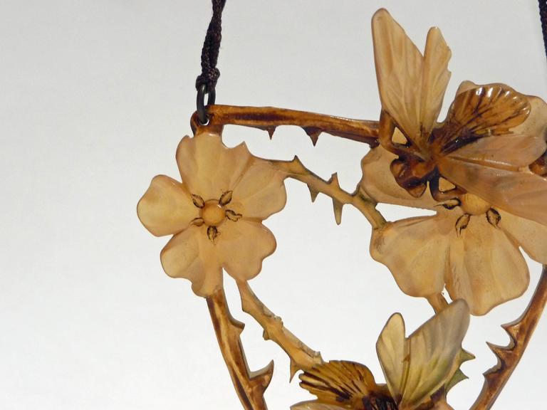 Elisabeth Bonté, an Art Nouveau Horn and Glass Beads Pendant, Signed 3