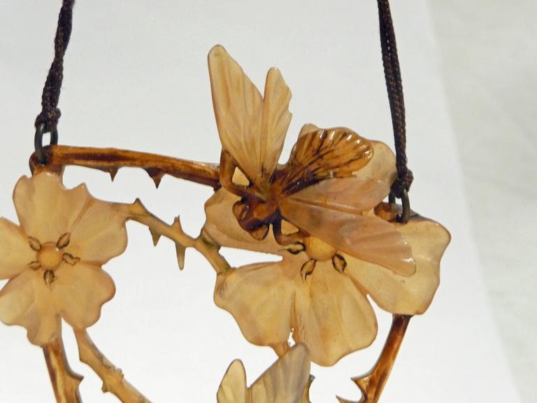 Elisabeth Bonté, an Art Nouveau Horn and Glass Beads Pendant, Signed 4
