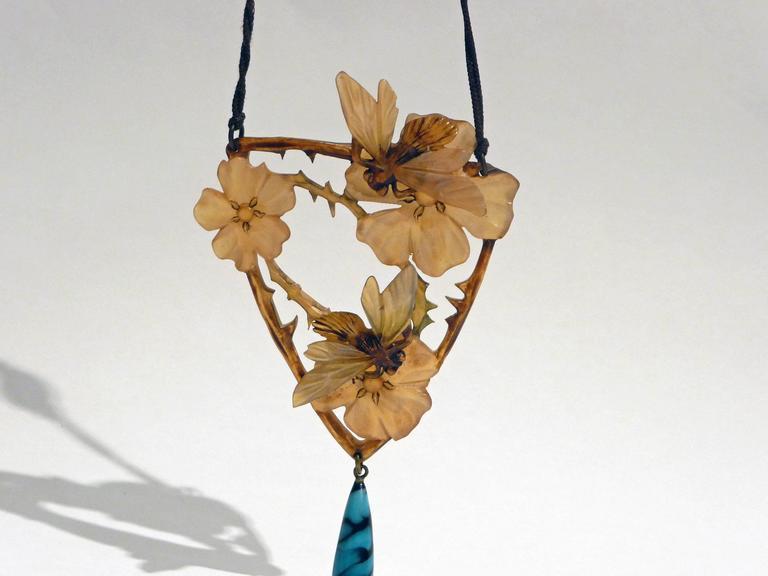 Elisabeth Bonté, an Art Nouveau Horn and Glass Beads Pendant, Signed 5