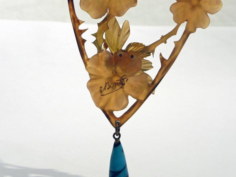 Elisabeth Bonté, an Art Nouveau Horn and Glass Beads Pendant, Signed 6