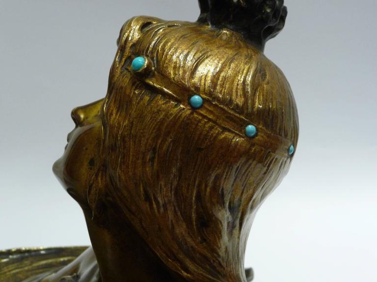 Georges Flamand, an Art Nouveau Gilt Bronze Vide-Poche, Signed 4