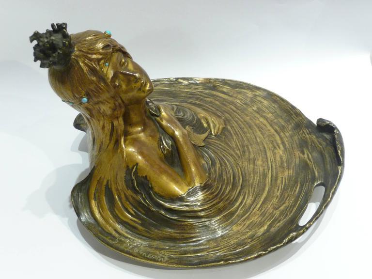 Georges Flamand, an Art Nouveau Gilt Bronze Vide-Poche, Signed 8