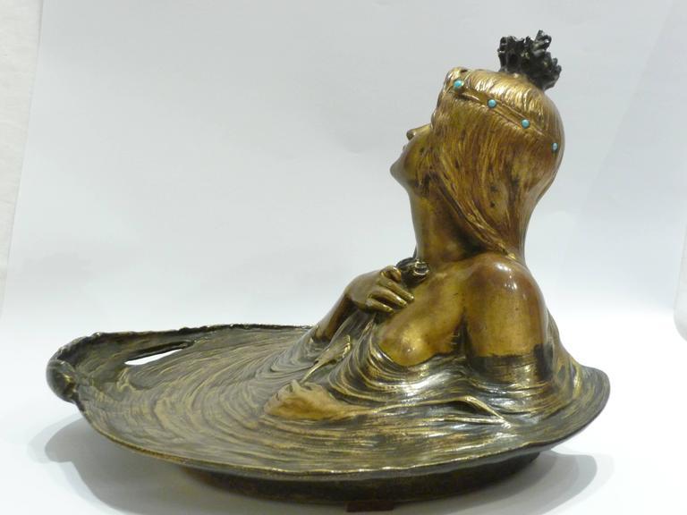 Georges Flamand, an Art Nouveau Gilt Bronze Vide-Poche, Signed 9
