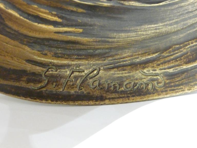 Georges Flamand, an Art Nouveau Gilt Bronze Vide-Poche, Signed 10