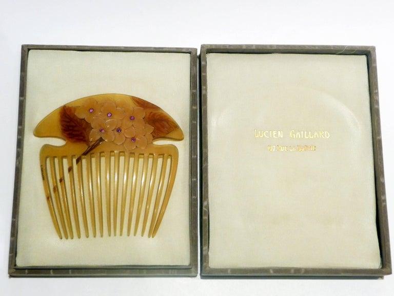 Lucien Gaillard, a Rare and Magnificient Art Nouveau Comb, Signed 4