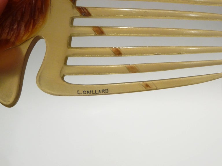 Lucien Gaillard, a Rare and Magnificient Art Nouveau Comb, Signed 3