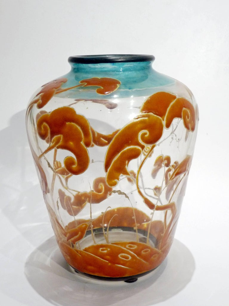Marcel Goupy, an Art Nouveau Vase with an Enamel Polychrome Decoration, Signed 3