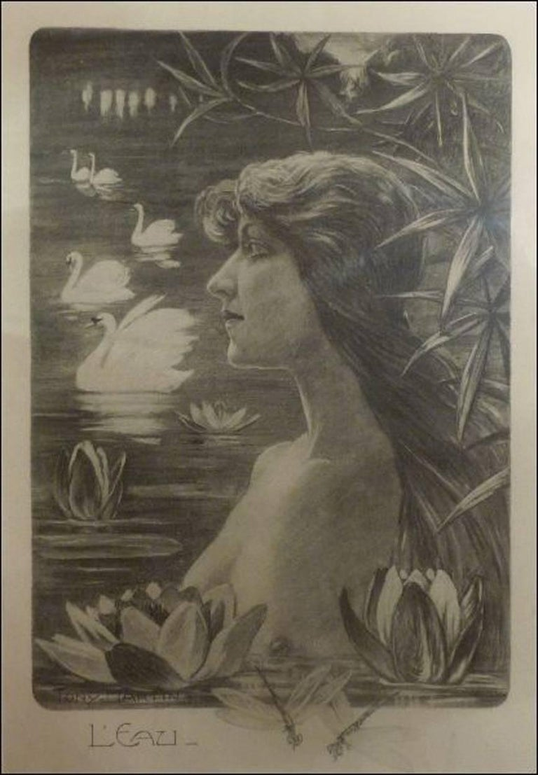 """Tony Martin, """"L'Eau"""", """"La Forêt"""", Two Art Nouveau Black and White Lithographs 3"""