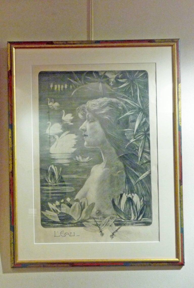 """Tony Martin, """"L'Eau"""", """"La Forêt"""", Two Art Nouveau Black and White Lithographs 4"""