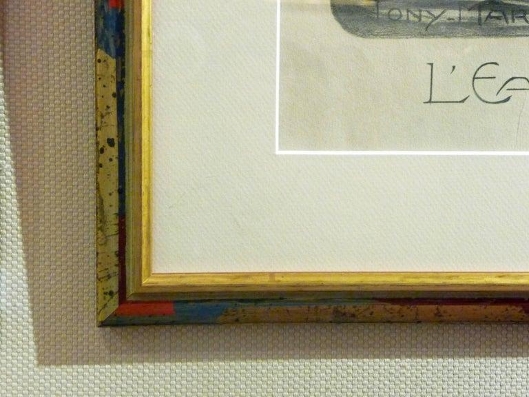 """Tony Martin, """"L'Eau"""", """"La Forêt"""", Two Art Nouveau Black and White Lithographs 5"""