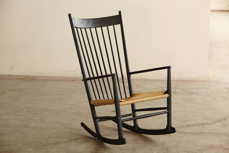 Rocking Chair J16, Black Rocker designed by Hans Wegner at 1stdibs