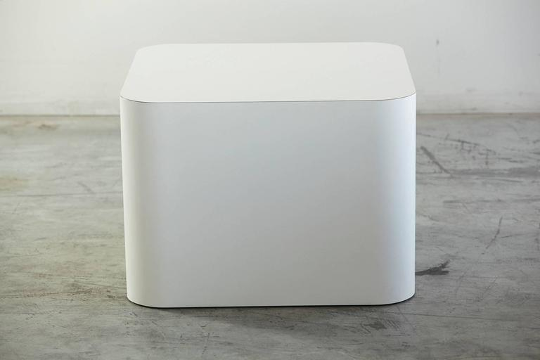 Modern Custom Made White Laminate Cubic End Table or Pedestal, Large For Sale