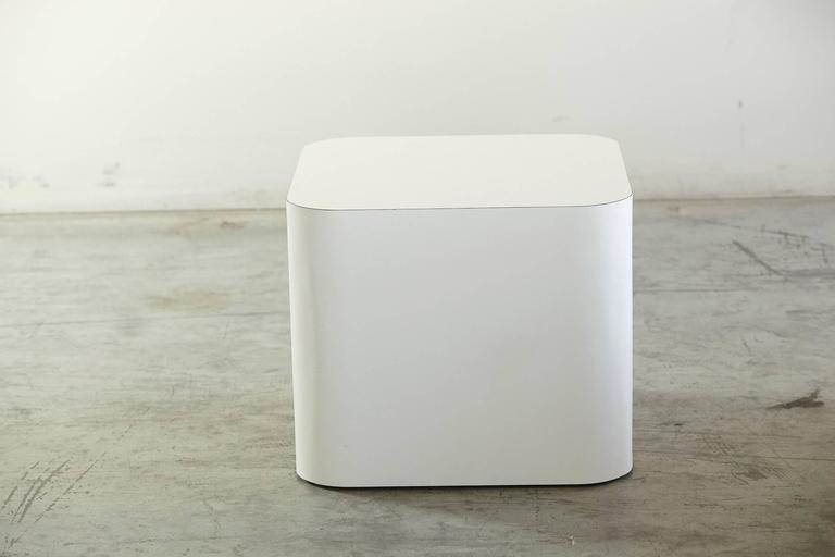 Custom-Made White Laminate Cubic End Table or Pedestal, Small 2