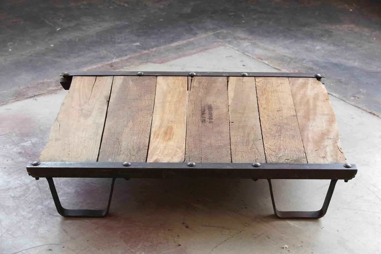 Vintage Industrial Steel And Wood Skid Platform Low Coffee Table For Sale At 1stdibs