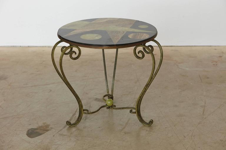 Mid Century Modern Wrought Iron Side Table With Black Marble Top With  Geometric Inlays,