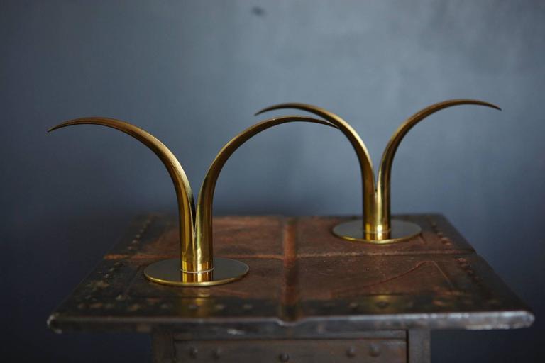 """Liljan"" Brass Candleholders by Ivar Ålenius Björk for Ystad Metal Sweden 8"