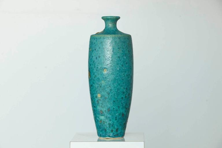 Mid-Century Modern Large Italian Modern Turquoise Blue Ceramic Vase in the Style of Guido Gambone For Sale