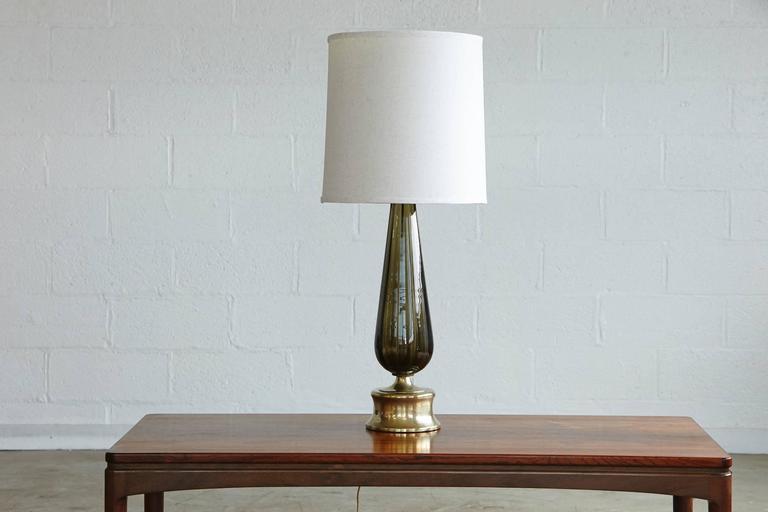 Teardrop Like Hand Blown Glass Table Lamp on Brass Base 2
