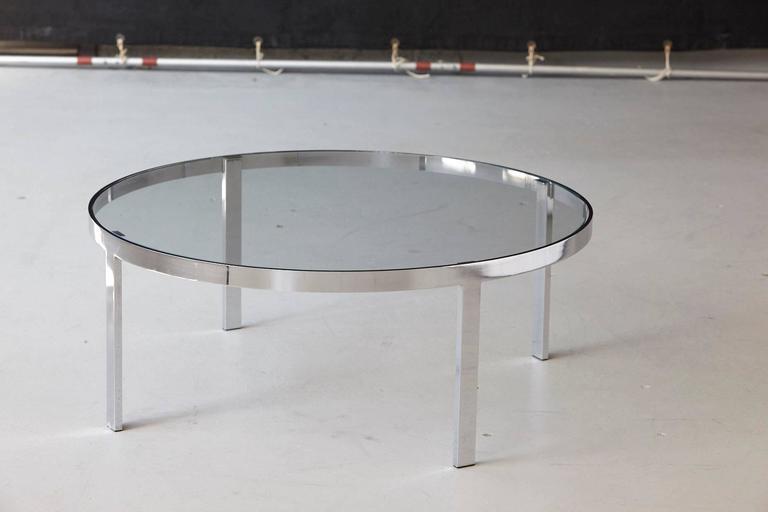 Milo Baughman Round Chrome and Glass Coffee Table 4