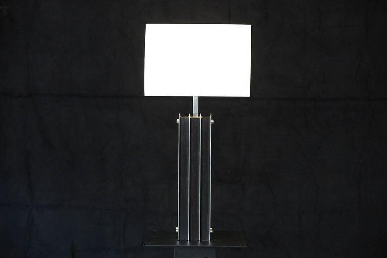 Mid-Century Modern Polished Aluminum and Black Wood Tall Table Lamp For Sale