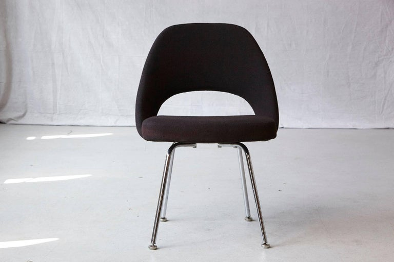 Original Eero Saarinen executive armless side or dining chair in black wool fabric with chrome legs. Original fabric and foam in very good condition.