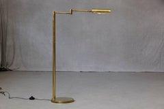 Koch & Lowy Height Adjustable Brass Swing Arm Floor Lamp