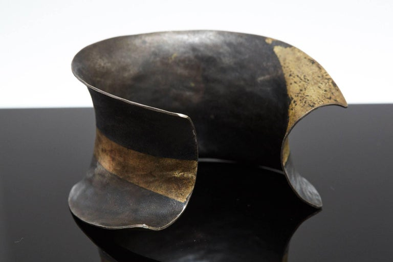 Modern Pat Flynn Hand-Forged Blackened Iron and Gold Cuff For Sale