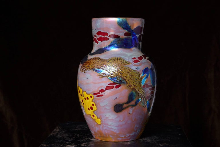 Large ceramic vase with a textured eosin glaze by Zsolnay, decorated with a landscape, trees and a hawk.  Signed with the red mark of five churches and form number 5305 ! (Please read detailed information about the importance of form