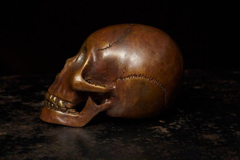 Late 20th Century Memento Mori Bronze Statue of a Human Skull For Sale
