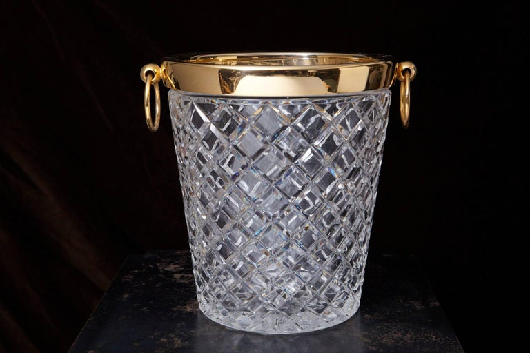 Belgian Crystal and Brass Ice Bucket, Saks Fifth Avenue's Guest and Gift, 1950s 2