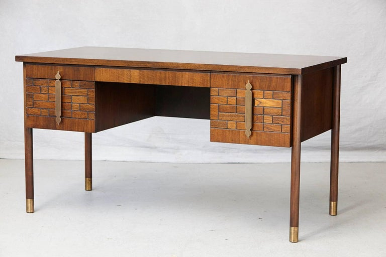 Mid-Century Modern Walnut Desk with Graphic Wood Work and Brass Hardware, 1970s For Sale