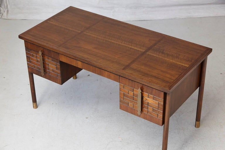 Walnut Desk with Graphic Wood Work and Brass Hardware, 1970s For Sale 4