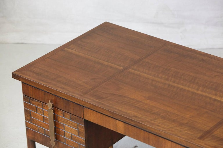 Walnut Desk with Graphic Wood Work and Brass Hardware, 1970s For Sale 5