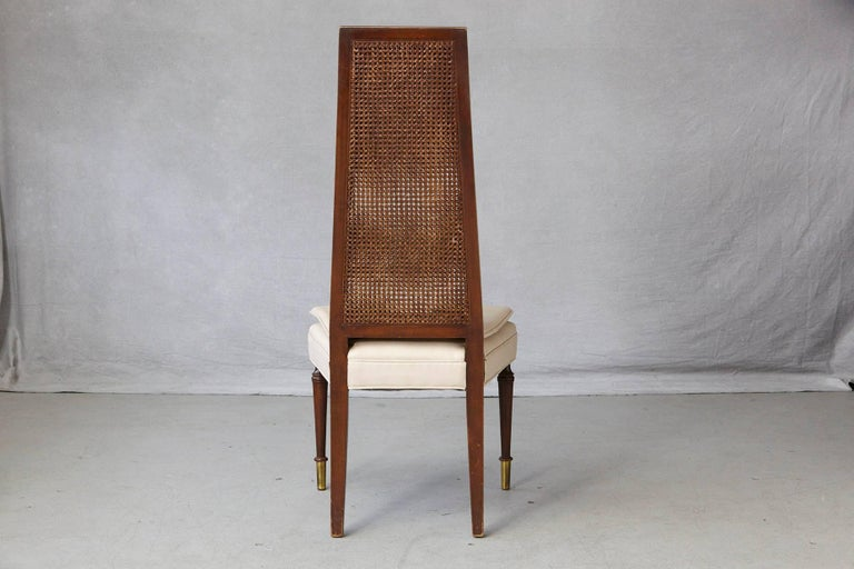 High Back Desk Chair with Double-Sided Rattan Back and Beige Faux Leather Seat In Excellent Condition For Sale In Westport, CT