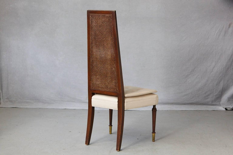Late 20th Century High Back Desk Chair with Double-Sided Rattan Back and Beige Faux Leather Seat For Sale