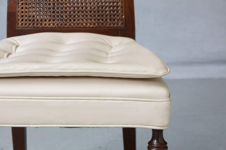High Back Desk Chair with Double-Sided Rattan Back and Beige Faux Leather Seat For Sale 3